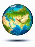 Oezbekistan ter wereld met witte achtergrond Stock Foto