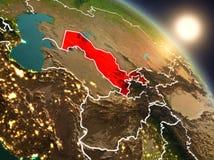 Oezbekistan van ruimte tijdens zonsopgang Royalty-vrije Stock Foto