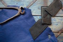 Ofício de couro e trabalho de couro Foto de Stock