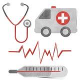 Ofício de papel recicl Tag médico & dos cuidados médicos. ilustração do vetor