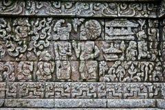 Ofício de pedra no templo de Candi Jago próximo por Malang, East Java, dentro foto de stock royalty free