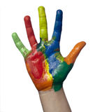 Ofício pintado cor da arte da mão da criança imagens de stock royalty free