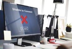 Oförmöget att förbinda disconnected oåtkomligt icke tillgängligt begrepp royaltyfria bilder