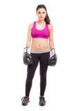 Oförskräckt kvinnlig boxare arkivbilder