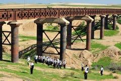 Ofakim pociągu most - Izrael fotografia royalty free