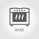 Ofen backen Ikonenzeichnung in der flachen Art für verschiedene kochende Projekte oder Innenarchitektur der Küche Stockfoto