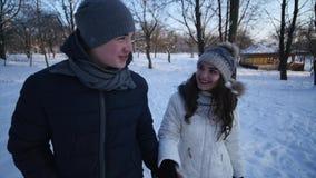 Ofenden a la mujer de Forest Walking Young Man And de la nieve del invierno de los pares que lleva a cabo las manos en el parque  almacen de metraje de vídeo