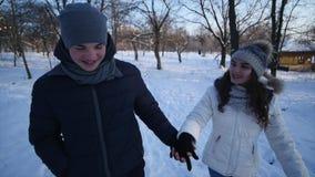 Ofenden a la mujer de Forest Walking Young Man And de la nieve del invierno de los pares que lleva a cabo las manos en el parque  almacen de video