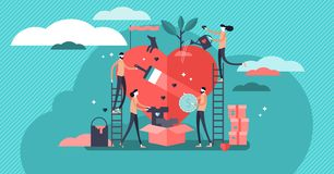 Oferecendo a ilustração do vetor Caridade da ajuda da equipe e esperança da partilha imagem de stock