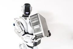 Oferta cyborg stoi z gadżetem Obraz Royalty Free