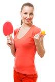 Oferta da mulher para jogar o tênis de tabela Fotografia de Stock