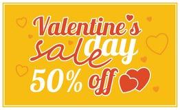 Oferta da venda do dia do ` s do Valentim, molde da bandeira Cartaz do mercado da loja Fotografia de Stock Royalty Free