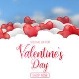 Oferta da venda do dia do Valentim s, molde da bandeira Balão lustroso vermelho do coração 3d com texto ilustração do vetor
