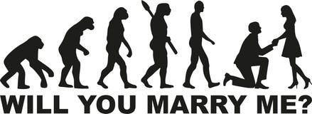 Oferta de la evolución - usted me casará stock de ilustración