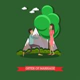 Oferta del ejemplo del vector de la boda en estilo plano stock de ilustración
