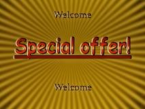 Oferta especial - boa vinda! Imagens de Stock Royalty Free