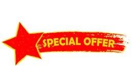 Oferta especial com a bandeira tirada da estrela, a amarela e a vermelha ilustração royalty free