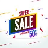 Oferta especial da venda super 50 fora do baner do disconto Bandeira do mercado da promoção do vetor para a venda ilustração stock