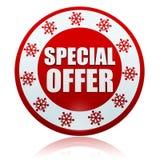 Oferta especial de la Navidad en bandera roja del círculo con el sym de los copos de nieve Foto de archivo libre de regalías