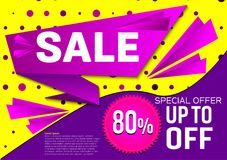 Oferta especial de la venta de la bandera del vector Fondo púrpura y amarillo abstracto del color Concepto de diseño Foto de archivo libre de regalías