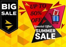 Oferta especial de la venta del verano de la bandera concepto de diseño abstracto geométrico del fondo del vector Imagen de archivo libre de regalías