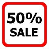 Oferta especial - disconto de 50% nos bens Ícone do vermelho do vetor Imagens de Stock Royalty Free
