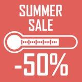 Oferta especial, disconto do verão sob a forma de um termômetro que mostre cinqüênta por cento Venda do verão Ilustração do texto ilustração royalty free