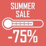 Oferta especial, disconto do verão sob a forma de um termômetro que mostre setenta cinco por cento Venda do verão Ilustração Foto de Stock