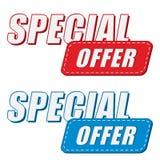 Oferta especial en dos etiquetas de los colores, diseño plano Imágenes de archivo libres de regalías