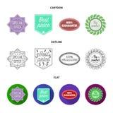 A oferta especial, melhor prise, garante, bio produto A etiqueta, ajustou ícones da coleção nos desenhos animados, esboço, símbol Imagens de Stock