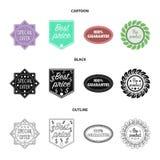 A oferta especial, melhor prise, garante, bio produto A etiqueta, ajustou ícones da coleção nos desenhos animados, preto, vetor d Imagem de Stock