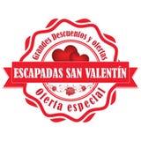 Oferta especial para el día del ` s de la tarjeta del día de San Valentín - español Foto de archivo libre de regalías