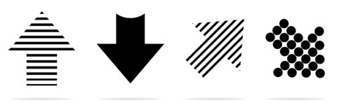 Oferta estupenda para fijar diversas flechas Estilo plano Graphhics del vector Flechas negras stock de ilustración