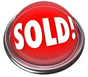 Oferta final vendida do leilão do negócio da luz do botão vermelho Imagem de Stock Royalty Free
