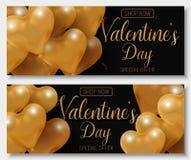 Oferta grande da venda do dia do ` s do Valentim, molde moderno da bandeira da forma Balão lustroso do coração do ouro 3d com tex ilustração royalty free