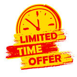 Oferta por tiempo limitado con la etiqueta de la muestra del reloj, amarilla y rojo dibujado Fotografía de archivo
