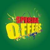 Ofertas especiales 3D en fondo verde Fotografía de archivo