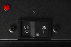 On-off κουμπί διακοπτών με το κόκκινο που οδηγείται controler Στοκ φωτογραφίες με δικαίωμα ελεύθερης χρήσης
