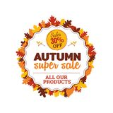 30% off autumn super sale badge with autumn fall dry leaf frame vector illustration. element for online shop web, banner, poster. Flyer, sticker design stock illustration