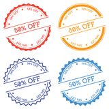 50% off badge isolated on white background. Stock Photos