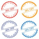 30% off badge isolated on white background. Flat style round label with text. Circular emblem vector illustration Royalty Free Stock Image