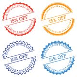 15% off badge isolated on white background. Flat style round label with text. Circular emblem vector illustration Stock Photography