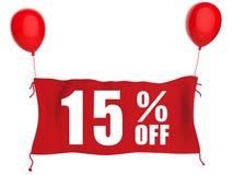 15%off banner op rode doek Stock Afbeelding