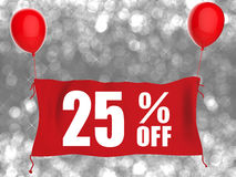 25%off banner op rode doek Stock Foto