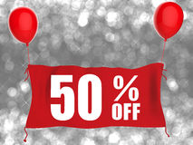 50% off banner on red cloth Royalty Free Stock Photo