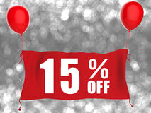 15% off banner on red cloth. With red balloons Stock Photography