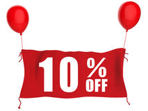 10%off banner. On red cloth with red balloons Royalty Free Stock Image