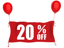 20%off banner. On red cloth with red balloons Stock Photography