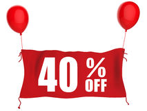 40% off banner. On red cloth with red balloons stock illustration