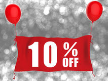 10%off banner. On red cloth with red balloons stock illustration